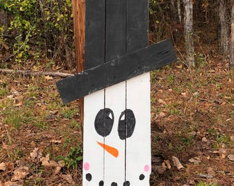 Reversible Wooden sign snowman, scarecrow