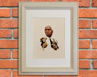 CAPTAIN HOLT, Brooklyn Nine-Nine, Andre Braugher Celebrity Portrait w/ Small Dogs, TV Show Art, Giclee Fine Art Print of Gouache Painting