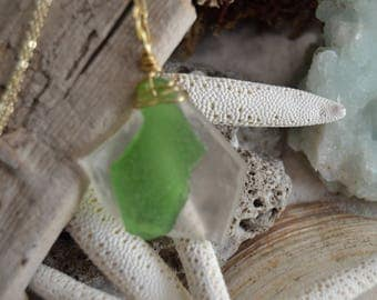 Genuine Green and Clear Sea Glass Necklace