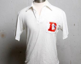 Vintage Denver Broncos 70's Polo Shirt Rare White M