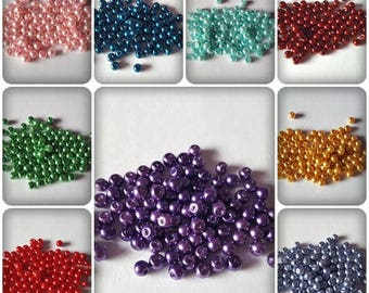 4mm glass pearl beads, Glass pearl beads, Pearl beads, Glass beads, Jewellery making beads, Jewellery making, Round beads, Glass pearls