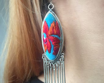Handmade embroidered with sliver earrings