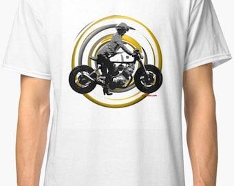 Yamaha inspired classic retro bespoke urban Motorcycle art T-Shirt Melimoto