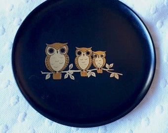 Vintage Otagiri Orginal plate three gold owls: Dish plate, Jewelry Holder