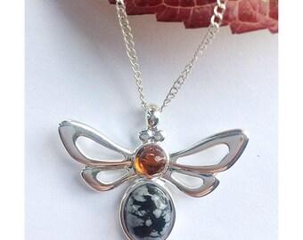 Beautiful amber and snowflake obsidian bee necklace, honey bee, beekeeper, beekeeper gifts