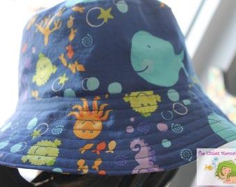 Toddler Bucket Hat // Whale Bucket Hat // Reversible Bucket Hat // Sealife Bucket Hat