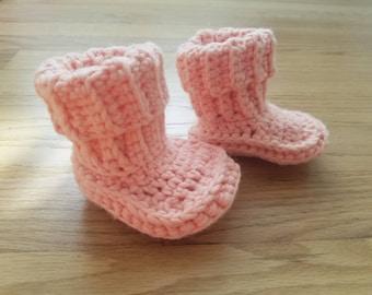 Crochet Baby Booties - Roll Down