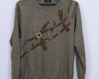 Vintage Viyella Long sleeve Shirt Womens sweatshirt knit wear Brown Color