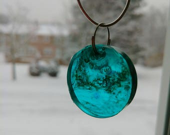 Blue/green circle resin necklace