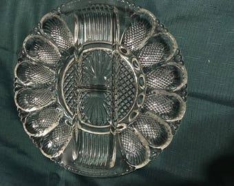 Vintage Egg Dish With Relish Center