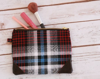 Plaid flannel makeup bag / cosmetic bag / zipper pouch
