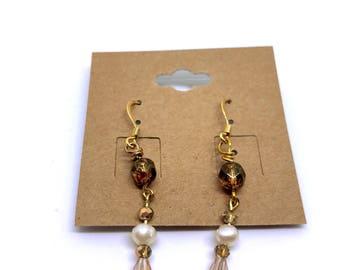 Multi beaded dangle earrings