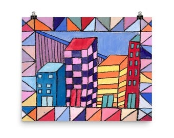 City Blocks - Beautiful Archival Cotton Rag Fine Art Giclée Print Supporting the Nonprofit Fresh Artists