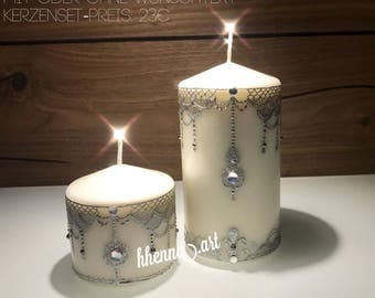 Henna candles, set of 2 PCs, personalized, 0010AB