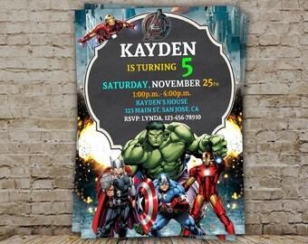 Avenger Birthday Invitation, Avenger Invitation, Boy Invitation, Superhero Party, Avenger, Superhero
