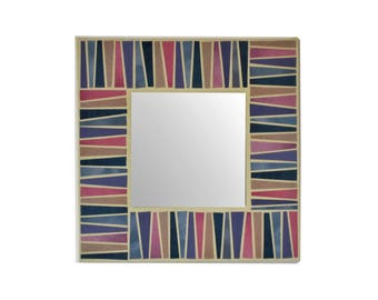 """Decorative pink blue mirror paper on 7.8"""" canvas original mixed media art square wall hanging upcycled magazine paper geometric collage."""
