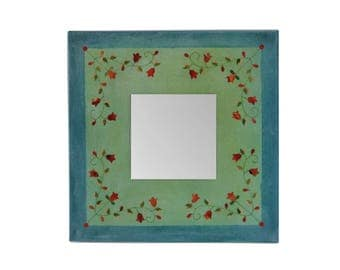 Flower mirror accent 10 inch green canvas mosaic art geometric floral design decorative upcycled magazine paper collage housewarming gift