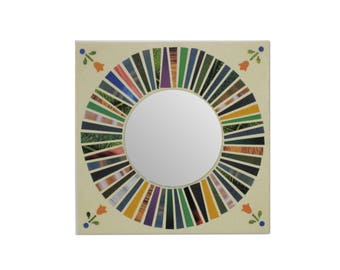 Green sunburst mirror mandala 7.8 inch canvas wall hanging mosaic art magazine paper collage geometric design housewarming decorative accent