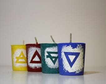 Elementals in the Details   Pagan Ritual Candle Set   Element Candles