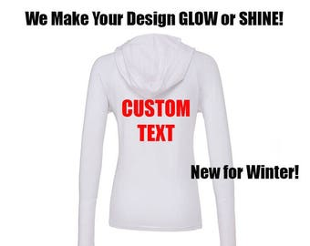 CUSTOM glow in the dark hoodie full zip Womens Make Your Own T-Shirt Front or Back only