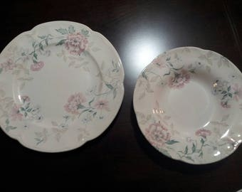Twelve pieces, Six Vintage dinner plates and six rimmed soup bowls by Johnson Brothers LYNTON China (Carnation pattern) made in England.