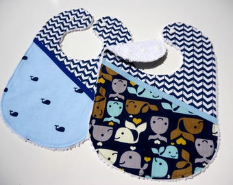Chenille baby bibs-Baby whales bibs-Boy bibs-Baby feeding bibs-Boy whales bibs-Baby boy gift