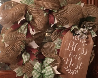 Bless Our Nest Deco Mesh Wreath
