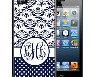 Monogrammed Rubber Case For iPhone X, 8, 8 plus, 7, 7 plus, 6s, 6s plus, 5, 5s, 5c, SE - Navy Damask Polka Dots