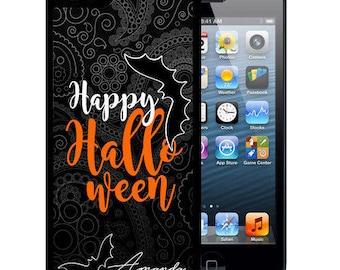 Personalized Rubber Case For iPhone X, 8, 8 plus, 7, 7 plus, 6s, 6s plus, 5, 5s, 5c, SE -Halloween Black Paisley Bats