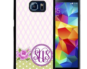 Monogrammed Rubber Case For Samsung S5, S6, S6 edge, S6 Edge Plus, S7, S7 Edge,  8, 8 plus - Light Purple Flowers