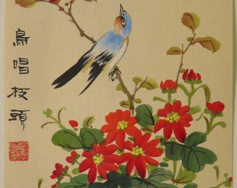 Lovely Vintage Signed Chinese Painting on Paper Blue Bird and Red Flowers