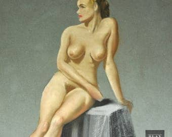 Mature Original WWII PIN-UP Nude Model  1940's Figure 20th Century Drawing Vintage Art Deco Old Vintage Pastel