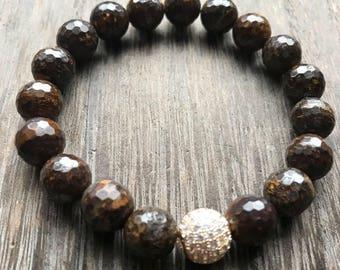 Bronzite Single Stack Bracelet + CZ Pave Bead + 10mm Beads