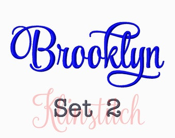 50% Sale!! Set 2 Brooklyn Embroidery Fonts 5 Sizes Fonts BX Fonts Embroidery Designs PES Fonts Alphabets - Instant Download