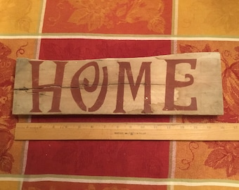 "Handmade 100% reclaimed ""home"" sign. 16in long x 4 3/4in tall (at tallest 4 1/4in at shortest). Pre wired and ready to hang."