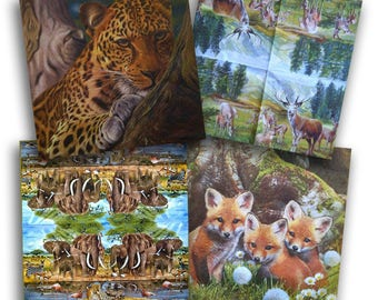 4 Decoupage Napkins Serviette, Wild Animals, 33x33 cm, 13Inch, Used for Collage, Scrapbooking, Mixed Media, Decoupage