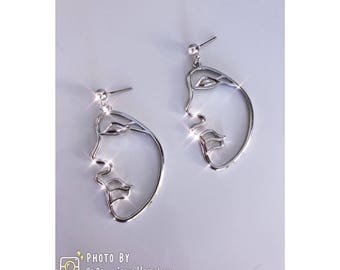 Artistic Face Earrings Sliver Plated