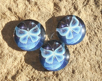 Glass cabochon 18 mm blue butterfly