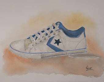 "Original painting of shoe ""Converse"" to the watercolor painted by hand-Original painting of ""Converse"" shoe in watercolor-hand painted"