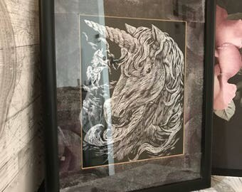 Stunning Horse and Unicorn foil art in hand decorated frames