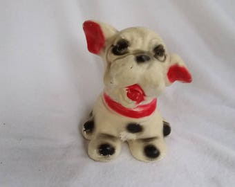 Vintage Chalkware/Plaster French Bulldog Boston Terrier Dog Doorstop Paperweight Garden Decor