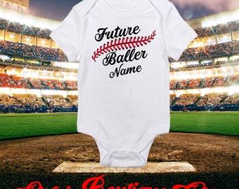 Future Baller Baseball Onesie Baseball Seems