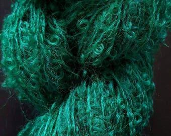 Emerald Green Boucle Mohair Skein