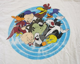 Large 90s Looney Tunes T-Shirt / Acme Clothing, Warmer Brothers Tee, Tweety, Taz, Porky Pig, Sylvester, Bugs Bunny, Yosemite Sam, Toons
