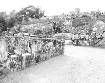 Black and White Photography of Graffiti Park at Castle Hill, Wall Decor, Home and Living, Office Decor, Wall Art Print, Fine Art Photography