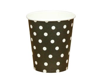10 Black Polka Dot Cups Black Party Cups Black Paper Cups Black Party Supplies Birthday Paper Cups Panda Party Cups Pirate Party Cups Favors