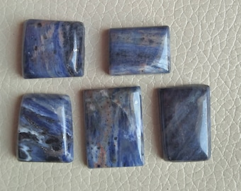 Natural Sodalite Gemstone 05 Pieces Lot, Weight 124 Carat, Size 20x20x9, 25x17x7, 26x19x6, 20x16x7, 22x18x8 MM Approx, Natural Gemstone.