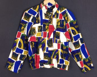 Rare!! Vintage baroque silk sweater jacket full zipper colourblock art style nice design