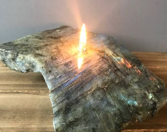 Rock Candle - Labradorite, rock oil lamp, rock decor * FREE SHIPPING*