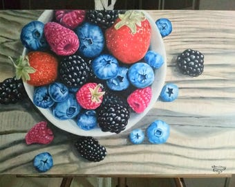 Still-life with spring berries